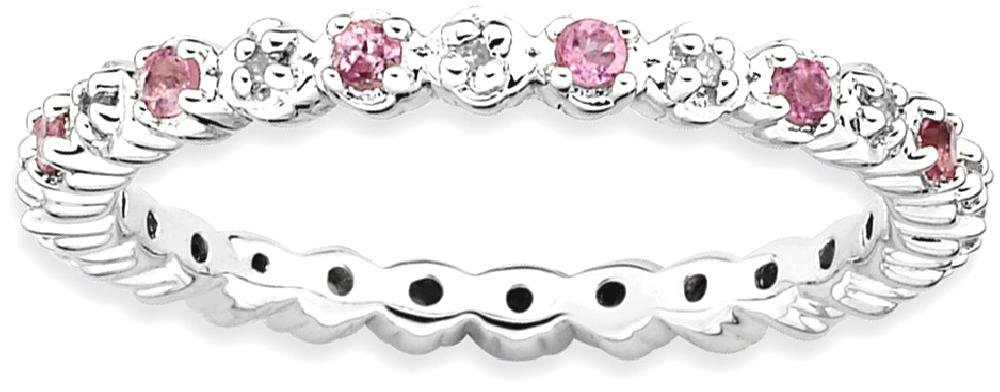 ICE CARATS 925 Sterling Silver Pink Tourm. Diamond Band Ring Size 5.00 Stone Stackable Gemstone Birthstone October/pink Tour/creat P Sapphire Fine Jewelry Gift Set For Women Heart