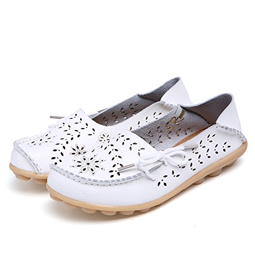 Lucksender Frauen aushöhlen Carving Casual Leder Fahren Flache Loafers Schuhe Weiß