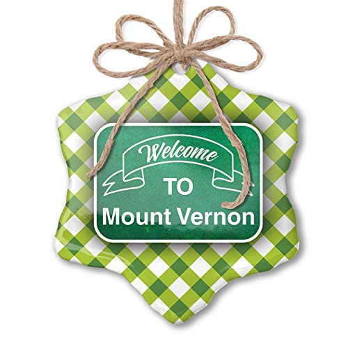 NEONBLOND Christmas Ornament Green Sign Welcome to Mount Vernon Green Plaid