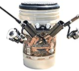 THE FISHING CADDY Fishing Bucket Storage Organizer Kit – Includes Padded Seat, Fishing Rod Holder, Beverage Holder and Waterproof LED Light for Night Fishing - Chrome, father's day gift, for hunt