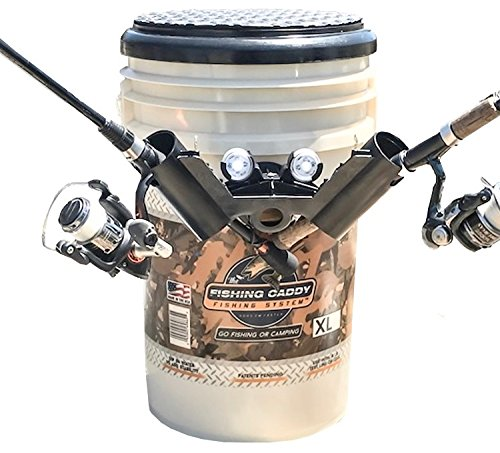 The Fishing Caddy – Fishing Bucket Storage or Bait Holder w/ Swivel Padded Seat,