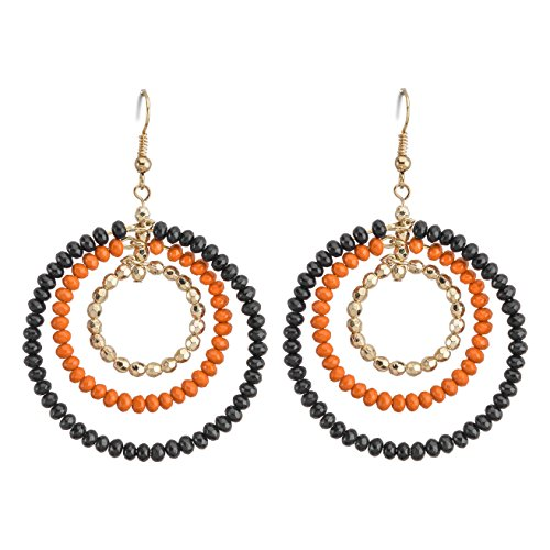 Occasionally Made Triple Hoop Earring, Navy/Orange