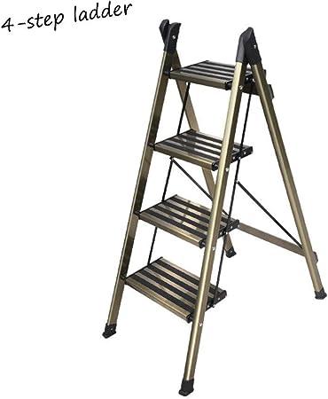 XSJZ Escaleras telescópicas Escalera Portátil, Ensanchado Pedal de Seguridad, Aluminio Escalera de 3 Pasos de Luz, Adecuado for Heces de Escaleras Interiores Escalera plegable (Size : 4-step ladder) : Amazon.es: Hogar