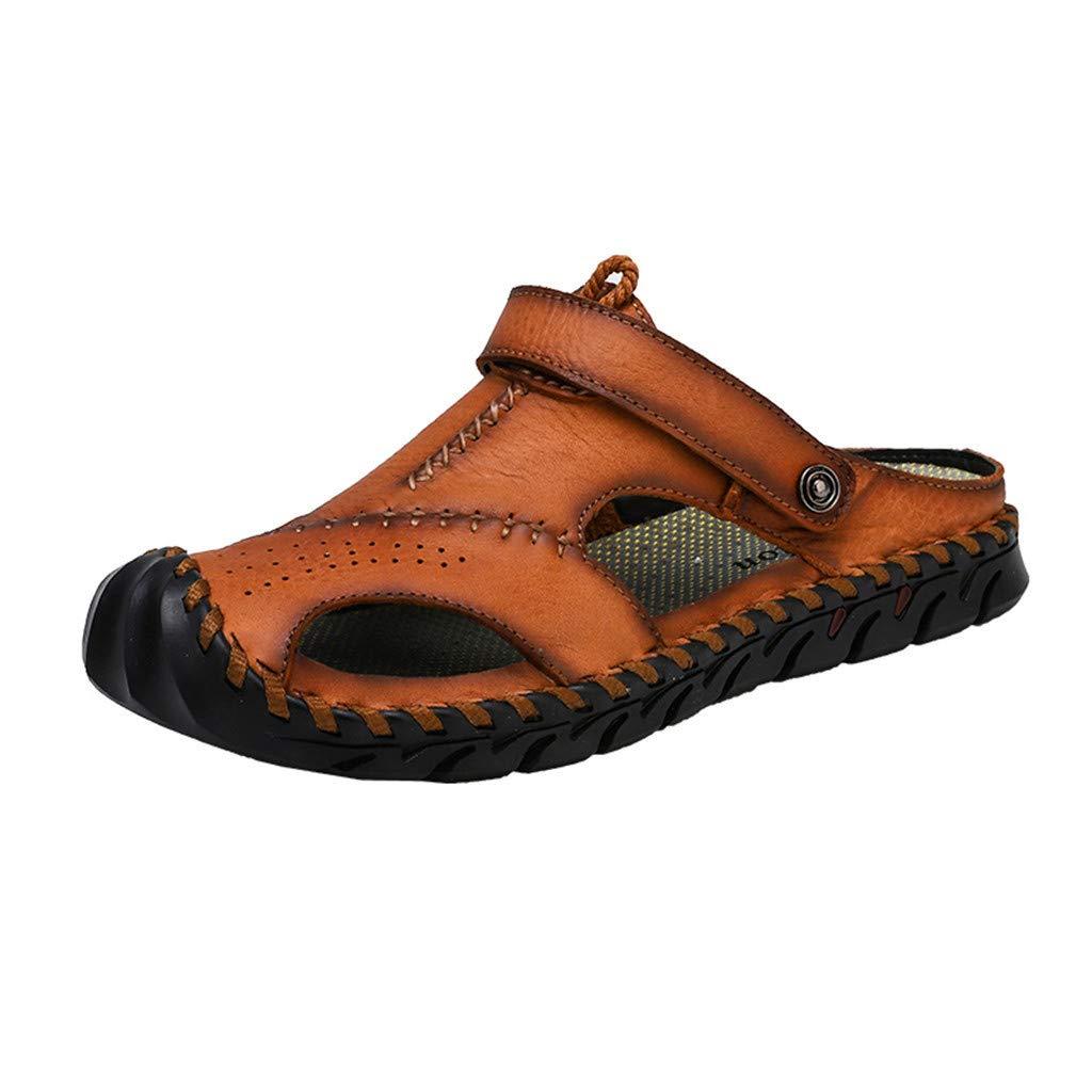 〓COOlCCI〓Men's Sports Sandals, Men Sandals Summer Beach Shoes,Men Hollow Sandals Slip-on Toe Roman Casual Shoes Orange
