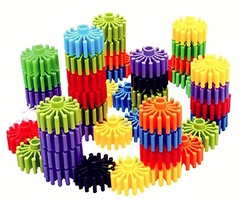 RAINBOW TOYFROG Gears Interlocking Building Set,Manipulatives Building Kit with Tote 120 Pcs - Occupational Therapy - 10 Colors- Educational