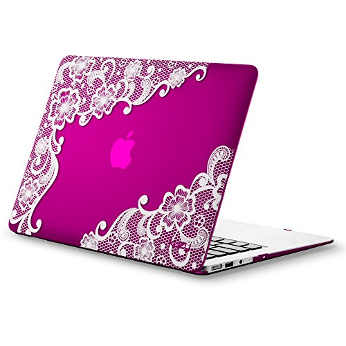 MacBook Air 13 inch Case A1466 A1369, Kuzy Rubberized Hard Cover (Newest Version 2018, 2017) - LACE Raspberry