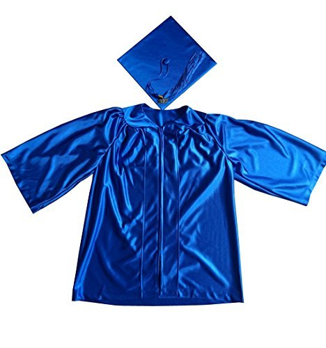 Grad Days Kindergarten Graduation Gown Cap Tassel 2018 Shiny Royal Blue 27(3'6''-3'8'')