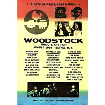 Woodstock Line-Up Music Poster Print - 24x36