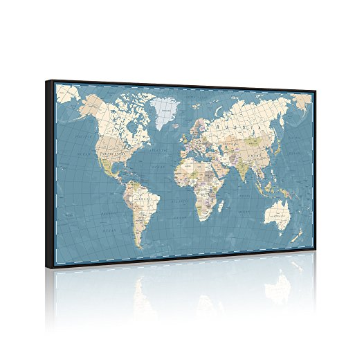 Visual Art Decor Xlarge Blue Retro World Map Canvas Prints Atlas Framed and Stretched Map Wall Art Decor for Travel Pin Marks Map Office Room Wall Decor 32 x48 Black Floater Frame