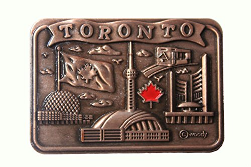 TORONTO , Skyline CN Tower , Maple Leaf COPPER Square Fridge Magnet .. Size : 2.5