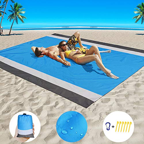 Beach Blanket Sand Proof Beach Mat Sand Free Extra Large Oversized for 4-7 Adults Waterproof Big & Compact Sandless Picnic Mat Quick Drying Nylon Lightweight with 6 Stakes & 4 Corner Pocket (7