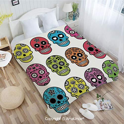 AmaUncle Custom Flannel Blanket W59.06 xL86.62 Bathroom Decor,Ornate Colorful Traditional Mexian Halloween Skull Icons Dead Humor Folk Art Print Super Soft Lightweight Breathable Sleeping Blanket