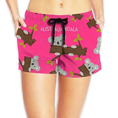 Cute Australia Koala Bear Womens Quick Dry Fashion Lightweight Surf Shorts With Pockets by DE9h Pants