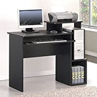 Paisley Home Office Rectangular Computer Desk with 1 Drawer and 2 Exterior Shelves Made of Manufactured Wood with Laminate in Black Finish 34.1 H x 39.4 W x 15.75 D in.