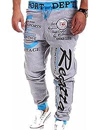 jeansian Men's Sport Jogger Printed DrawString Baggy Sweatpants Long Pants S376