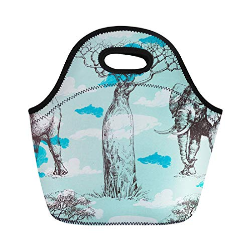 (Semtomn Neoprene Lunch Tote Bag Blue Savana African Pattern Baobab Tree and Elephant Summer Reusable Cooler Bags Insulated Thermal Picnic Handbag for Travel,School,Outdoors,Work)