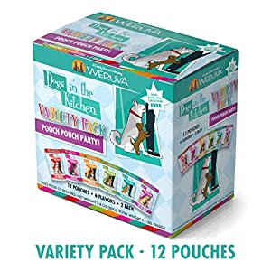 Weruva Dogs In The Kitchen, Variety Pack, Pooch Pouch Party!, Wet Dog Food, 2.8Oz Pouches (Pack Of 12)