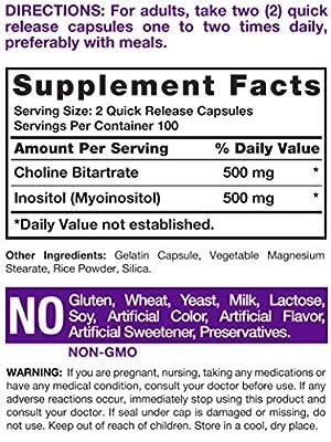 Horbaach Choline Inositol 500 mg (200 Capsules) | Non-GMO, Gluten Free Supplement