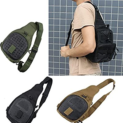 IMAGE® Black/Olive /Tan Men Women Outdoor Camping Trekking Hiking Bag Military Tactical Backpack Sports Shoulder Chest Bag