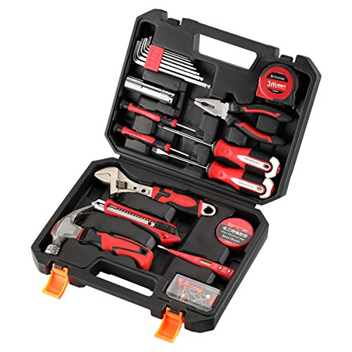 Brinonac 41-Piece Tool Set General Household Home Repair Hand Tools Kit with Plastic Toolbox Storage Case