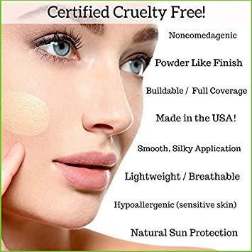 Better n Ur Skin Organic Liquid Foundation SANDY BEIGE – Light Medium Neutral Healthy Makeup All Natural Vegan Cruelty Free Gluten Free Non GMO Palm Free Natural Sun Protection