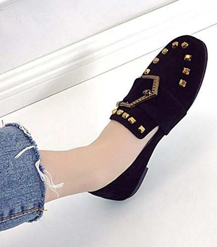 de cintur cuadrados hebilla de zapatos KUKI zapatos suaves planos zapatos planos Zapatos pwPaAqvxF