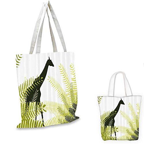 Africa canvas messenger bag Silhouette of Giraffe Ferns National Park Terrestrial Tall Animal Print canvas beach bag Pale Green Dark Green. 14