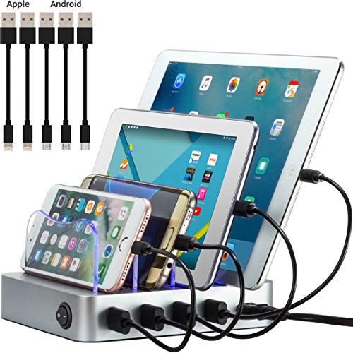 Simicore Smart Charging Station Dock & Organizer for Smartphones, Tablets & Other Gadgets - 4-Port Compact Multiple USB Charger & Phone Docking Station with Charging Status Indicator (Silver)