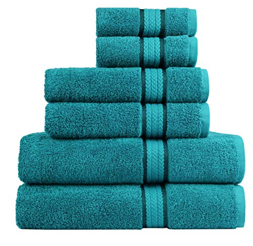 Cotton Craft Ultra Soft 6 Piece Towel Set Teal, Luxurious 100% Ringspun Cotton, Heavy Weight & Absorbent, Rayon Trim - 2 Oversized Large Bath Towels 30x54, 2 Hand Towels 16x28, 2 Wash Cloths 12x12