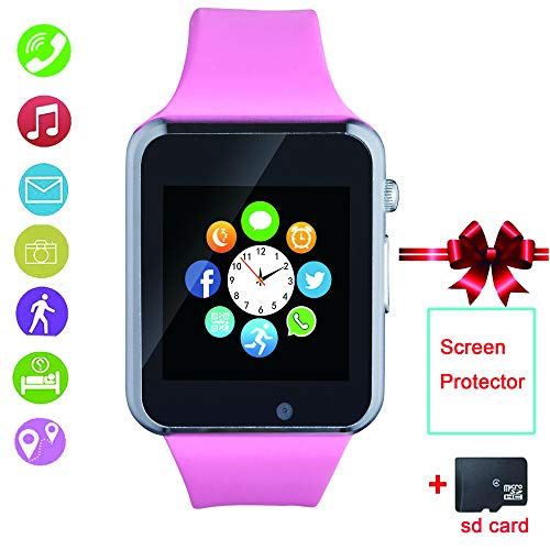 Bluetooth Smart Watch Cell Phone Watch Card SIM SD with pedometercamera Music Player Watch Notification for Android iOS Women and Men
