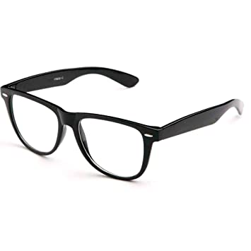 fcfef6a4f5b Image Unavailable. Image not available for. Color  Fashion Retro Unisex  Mens Womens Clear Lens Wayfarer Nerd Geek Glasses Eyewear !