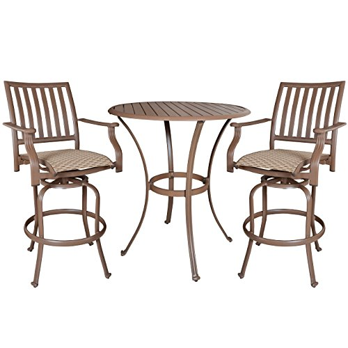 Panama Jack Outdoor Island Breeze 3-Piece Slatted Pub Table Set, Includes 2 Swivel 30-Inch Barstools and Pub Table (Pub Breeze)