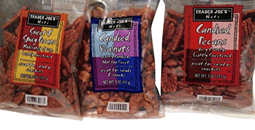 Candied Sweet (Trader Joes Candied Pecans - Sweet and Spicy Pecans moderately Spicy not too sweet and Candied Walnuts lightly candied not too sweet Total 3 items)