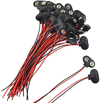 amazon com: 30 pack 9 volt battery clip connector battery snap wire  connectors (30 pack-15cm): home audio & theater