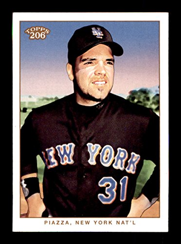 New York Mets Black Jersey (2002 Topps 206 #248A Mike Piazza HOF NEW YORK METS Black Jersey)
