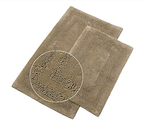 Stamford Floor - TreeWool Bathroom Rugs (21x34 & 17x24 Inch) Stamford Chenille Arena 2-Piece Mat Set, Extra Soft Super Absorbent Machine Washable Cotton Bath Mats with Latex Sprayed Non-Skid Backing - Warm Sand Beige