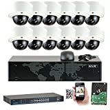 GW Security 16CH 1920P NVR Network 5MP IP Security Camera System - 12 x HD 1080P 5.0 Megapixel 2.8~12mm Varifocal Zoom PoE IP Dome Camera + 4TB Hard Drive - Support ONVIF Quick QR Code Remote Access