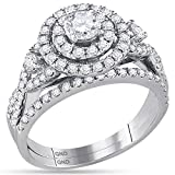 14K White Gold Bridal Halo Cluster Infinity Love Real Diamond Engagement Ring Set 1.5 CT (I1-I2 clarity; G-H color)