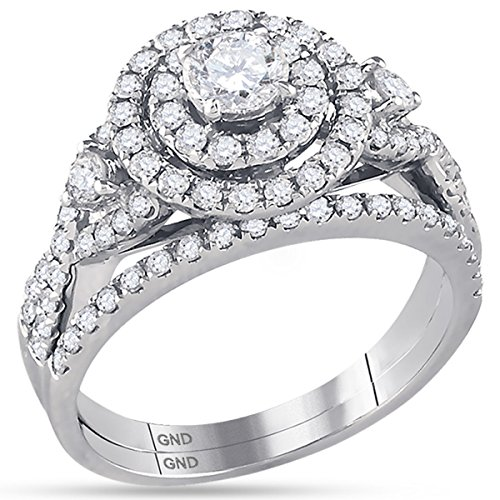 14K White Gold Bridal Halo Cluster Infinity Love Real Diamond Engagement Ring Set 1.5 CT (I1-I2 clarity; G-H color) by Jewels By Lux (Image #1)