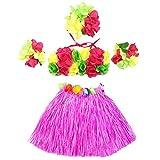 5Pcs Hawaii Tropical Hula Grass Dance Skirt Flower Bracelets Headband Bra Set 40cm (Pink Skirt)