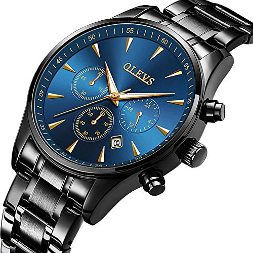 OLEVS Men's Watches Stainless Black,Mens Big Face Watches Clearance,Luxury Fashion Casual Dress Men Business Watches Chronograph with Date,Mens Blue Dial Watch,Blue Face Mens Watches Clearance Sale ()