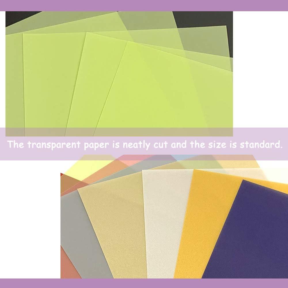 SUNSK Papel de color transparente Infantiles Papel Calco Bricolaje L/áminas de Celof/án de Colores para Manualidades decoraciones de bricolaje material de arte Dise/ños Papel 10 colores 40 Hojas
