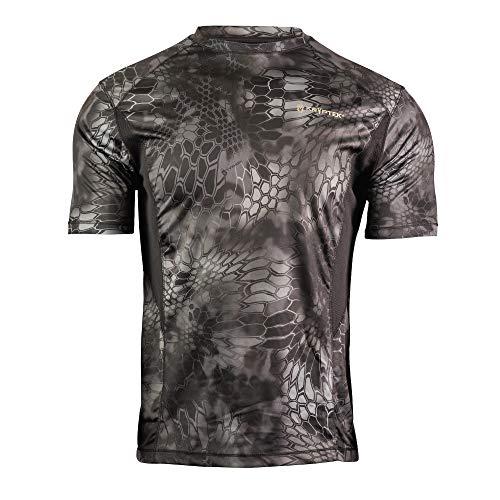 Kryptek Aura Short Sleeve Camo Hunting & Fishing Shirt (K-Ore Collection), Typhon/Black, XL
