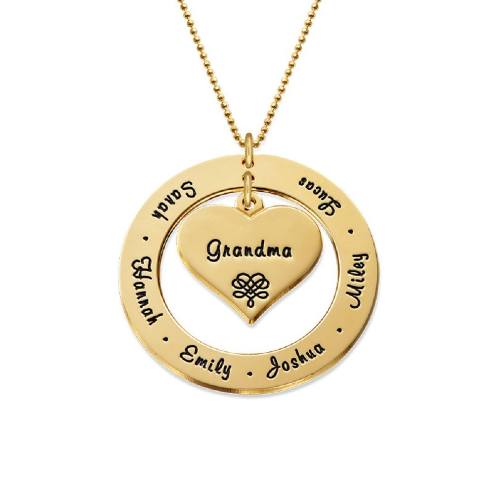 Grandmother / Mother Necklace - Personalized Gold Engraving with Names - Gift for Her