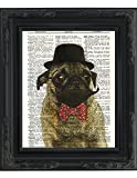"Dictionary Art Print - Sir Pug Moustache and Bow Tie- Printed on Recycled Vintage Dictionary Paper - 8""x11"" - Mixed Media Poster on Vintage Dictionary Page"