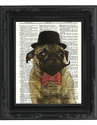Dictionary-Art-Print-Sir-Pug-Moustache-and-Bow-Tie-Printed-on-Recycled-Vintage-Dictionary-Paper-8x11-Mixed-Media-Poster-on-Vintage-Dictionary-Page