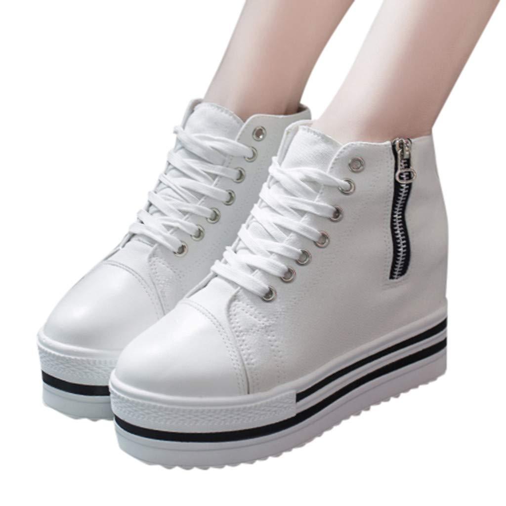 Lenfesh Negro//Blanco Moda para Mujer Lienzo Plataforma Deportiva con Cordones Casual Cremallera con Cremallera Muffin Dentro Zapatos Cada Vez Mayores Zapatillas de Deporte