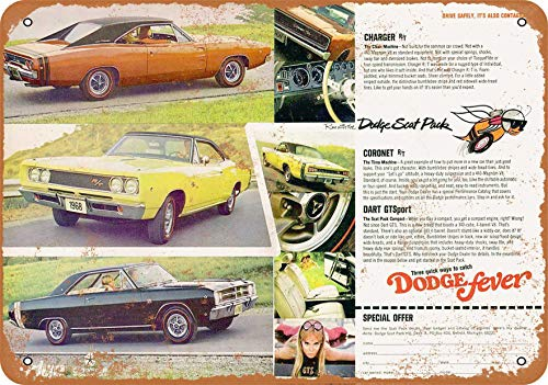 Wall-Color 10 x 14 Metal Sign - 1968 Dodge Charger Coronet Dart Scat Pack - Vintage Look ()