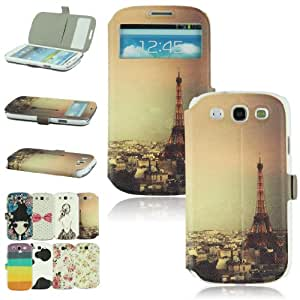 Voberry Hot Smart View Window Painting Design Wallet Style PU Leather Flip Holding Case Cover For Samsung Galaxy S3 i9300