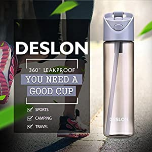 DESLON Tritan Water Bottle with Straw for Women and Men BPA Free Plastic Grey 22 oz Travel Mug